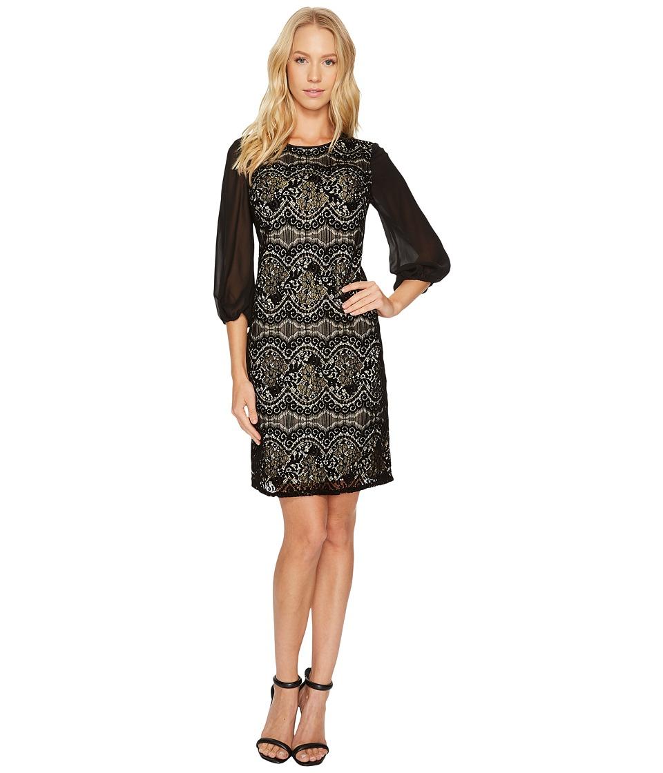 Adrianna Papell Flocked Lurex Lace Mixed Media Long Sleeve Sheath (Black/Champagne) Women