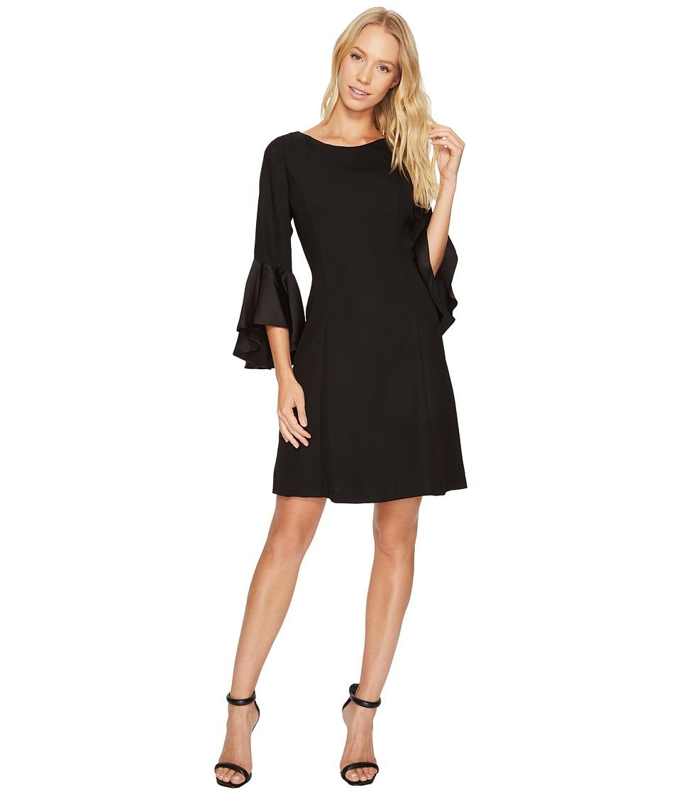 Adrianna Papell Crepe Back Satin Ruffle Sleeve Dress (Black) Women