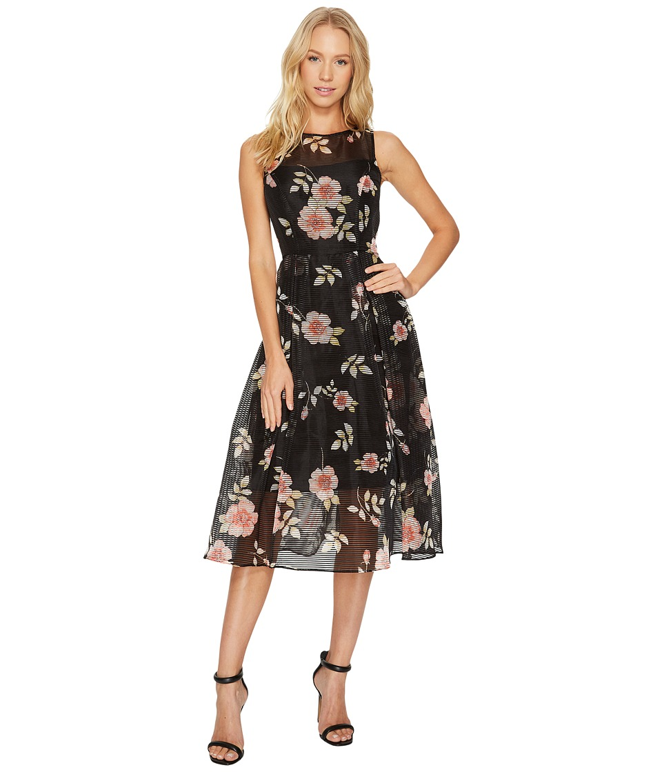 Adrianna Papell Boat Neck Fit Flare Dress (Black Multi) Women