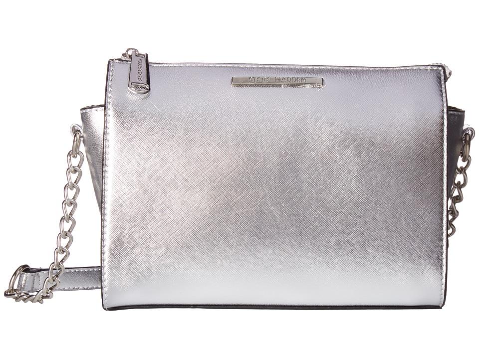 Steve Madden - Blexi Saffiano Crossbody (Black/Silver) Cross Body Handbags