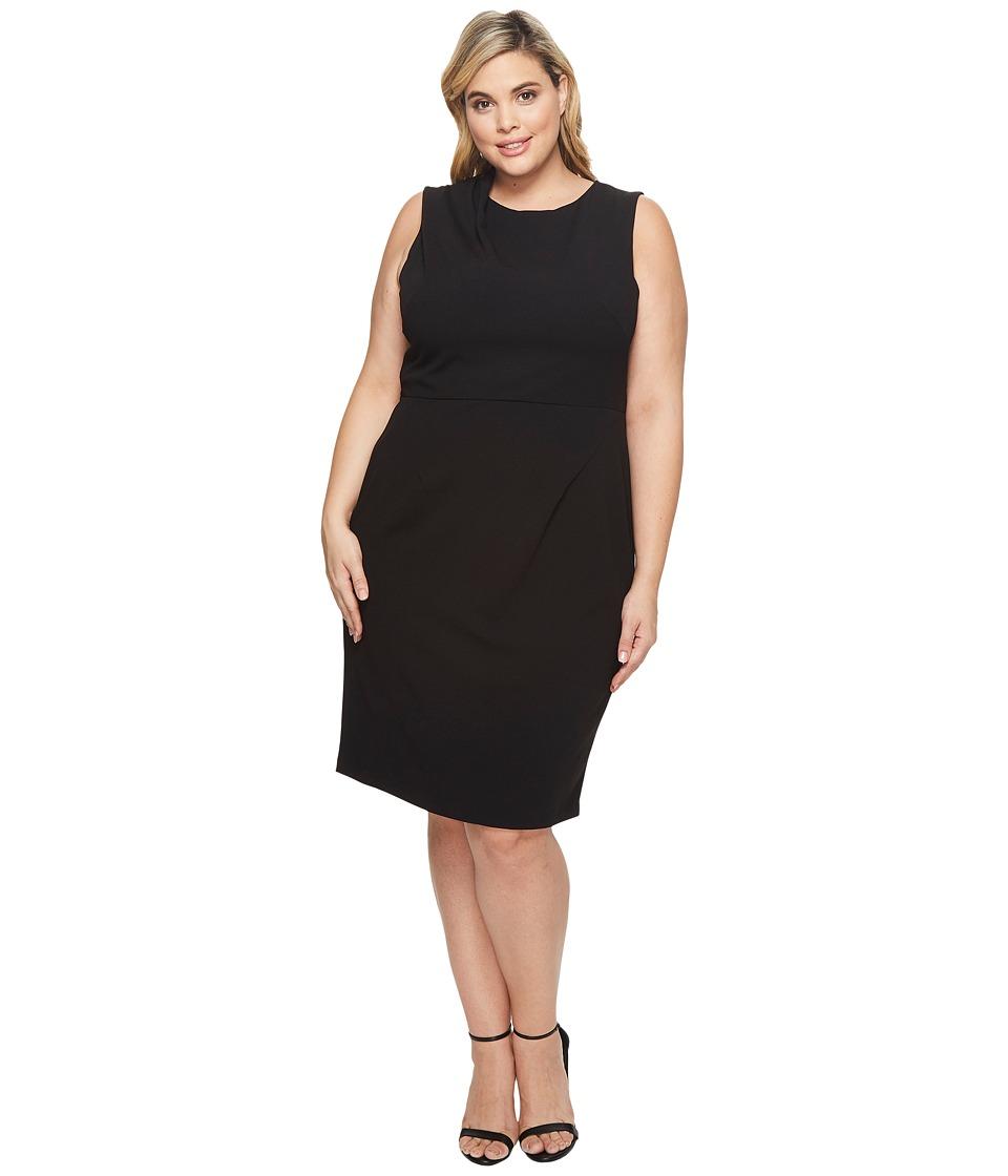 Adrianna Papell Plus Size Drape Neck Sheath Dress (Black Multi) Women