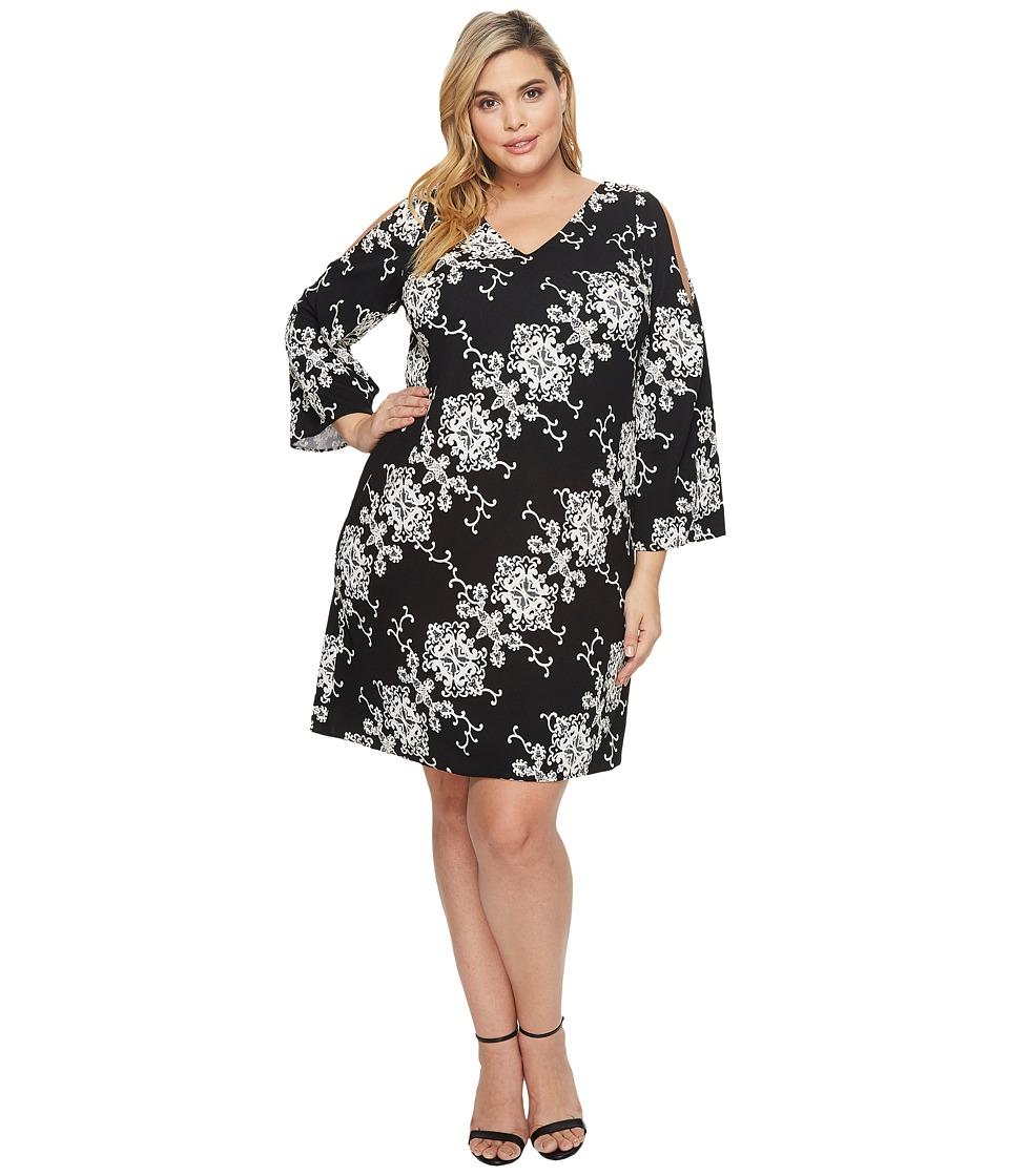 Adrianna Papell Plus Size Cold Shoulder Shift Dress (Black/Ivory) Women
