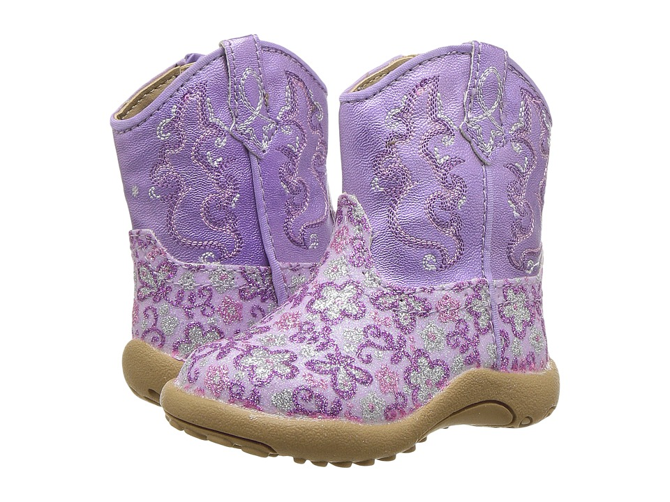 Roper Kids Cowbaby Lavender (Infant/Toddler) (Purple Faux Leather Glitter Vamp) Cowboy Boots
