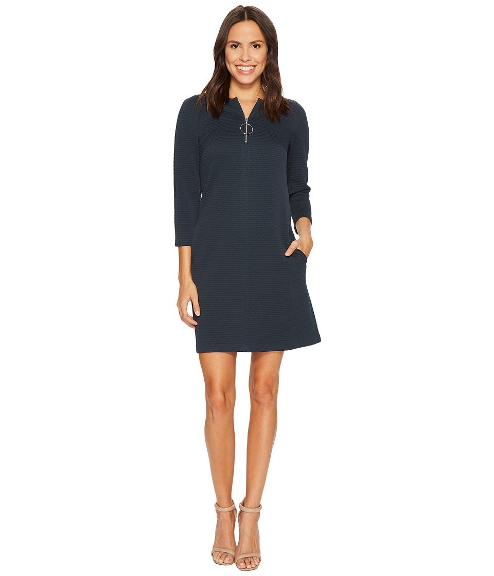 Donna Morgan 3-4 Sleeve Novelty Knit Shift Front Zip Hardware Detail Viridian Green Dress