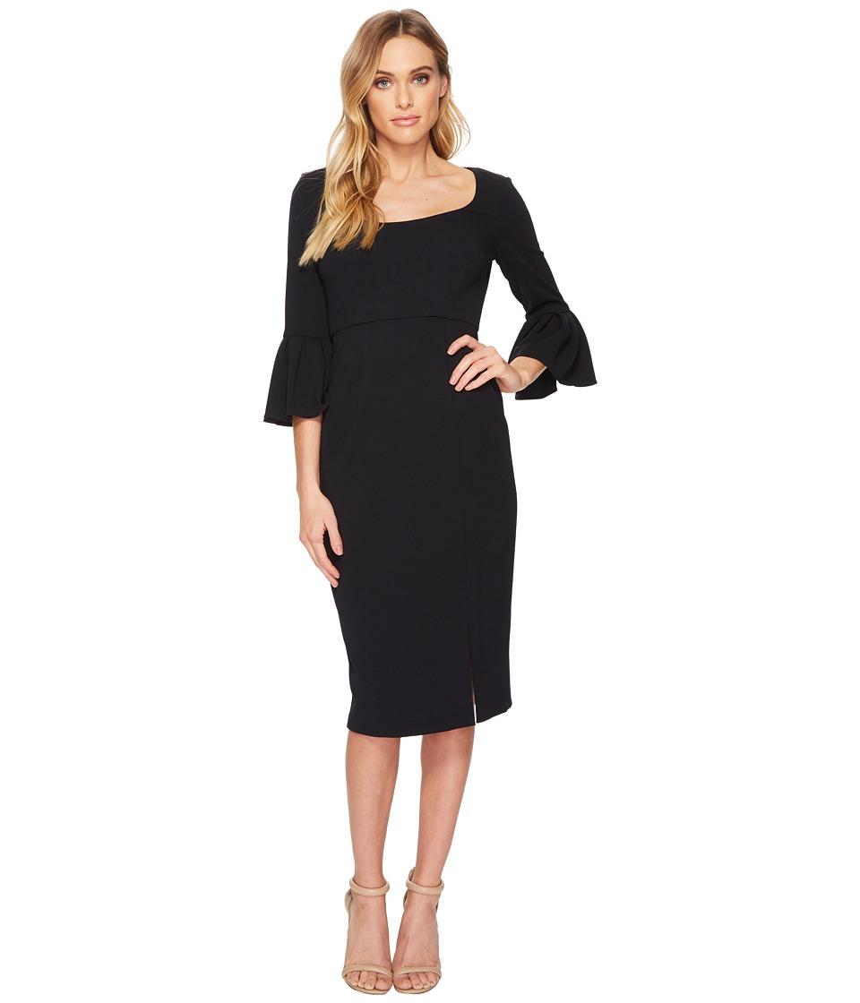 Donna Morgan 3/4 Length Bell Sleeve Scoop Neck Crepe Sheath w/ Midi Length Skirt and Side Slit (Marine Navy) Women