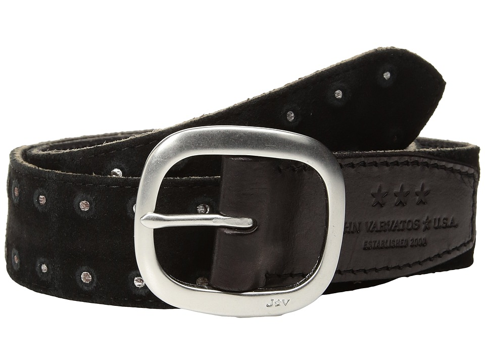 John Varvatos Star U.S.A. - Distressed Suede Belt With Studs (Black) Men's Belts