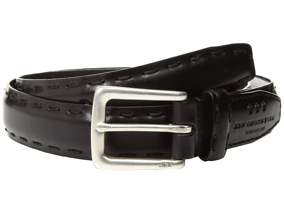 John Varvatos Star U.S.A. - Feather Edge w/ Pick-Stitch Belt (Black) Men's Belts