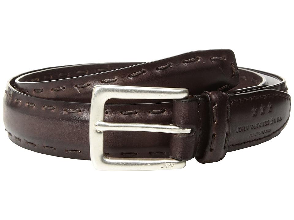 John Varvatos Star U.S.A. Feather Edge w/ Pick-Stitch Belt (Chocolate) Men's Belts