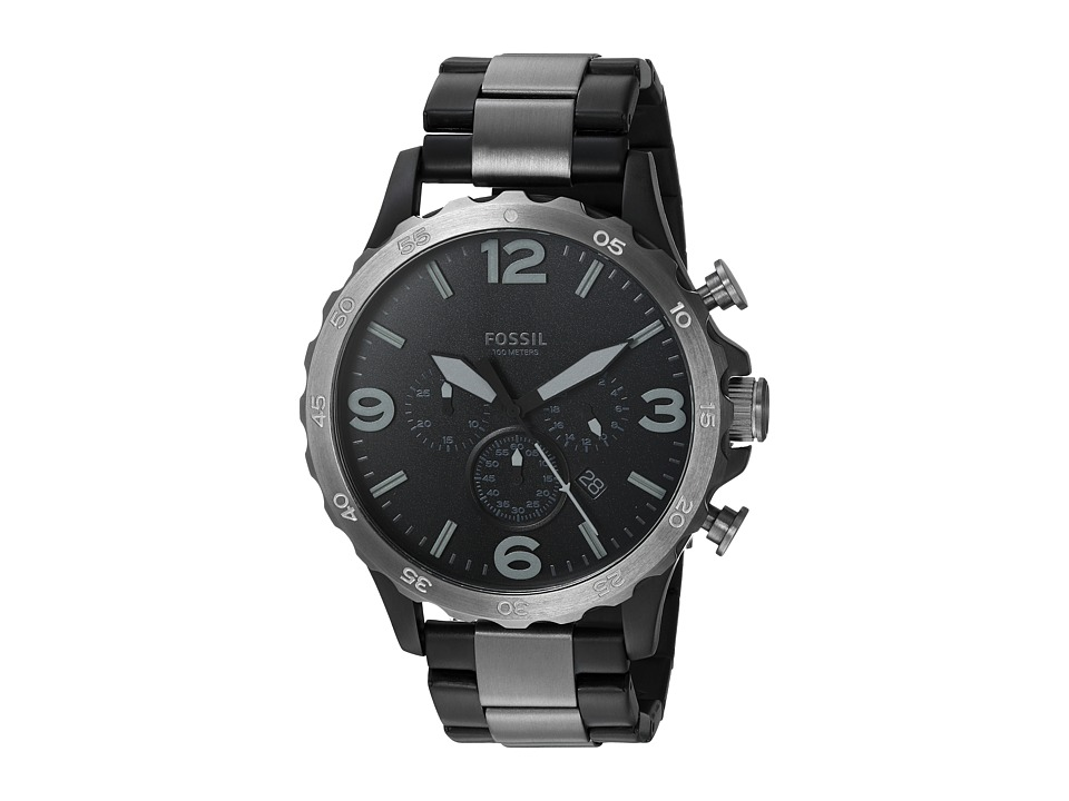 Fossil - 50mm Nate JR1527 (Black/Gunmetal) Watches