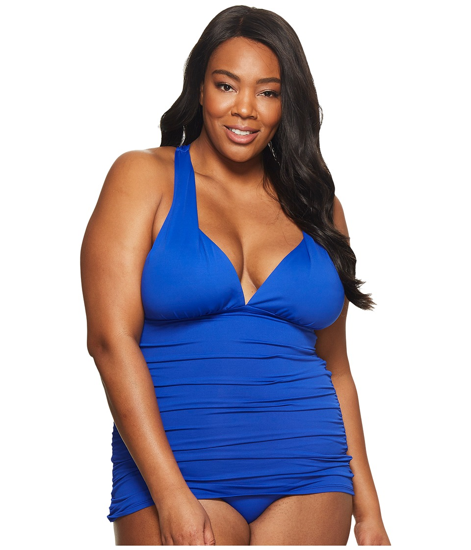 LAUREN Ralph Lauren Plus Size Plunge Halter Mio One-Piece (Capri Blue) Women