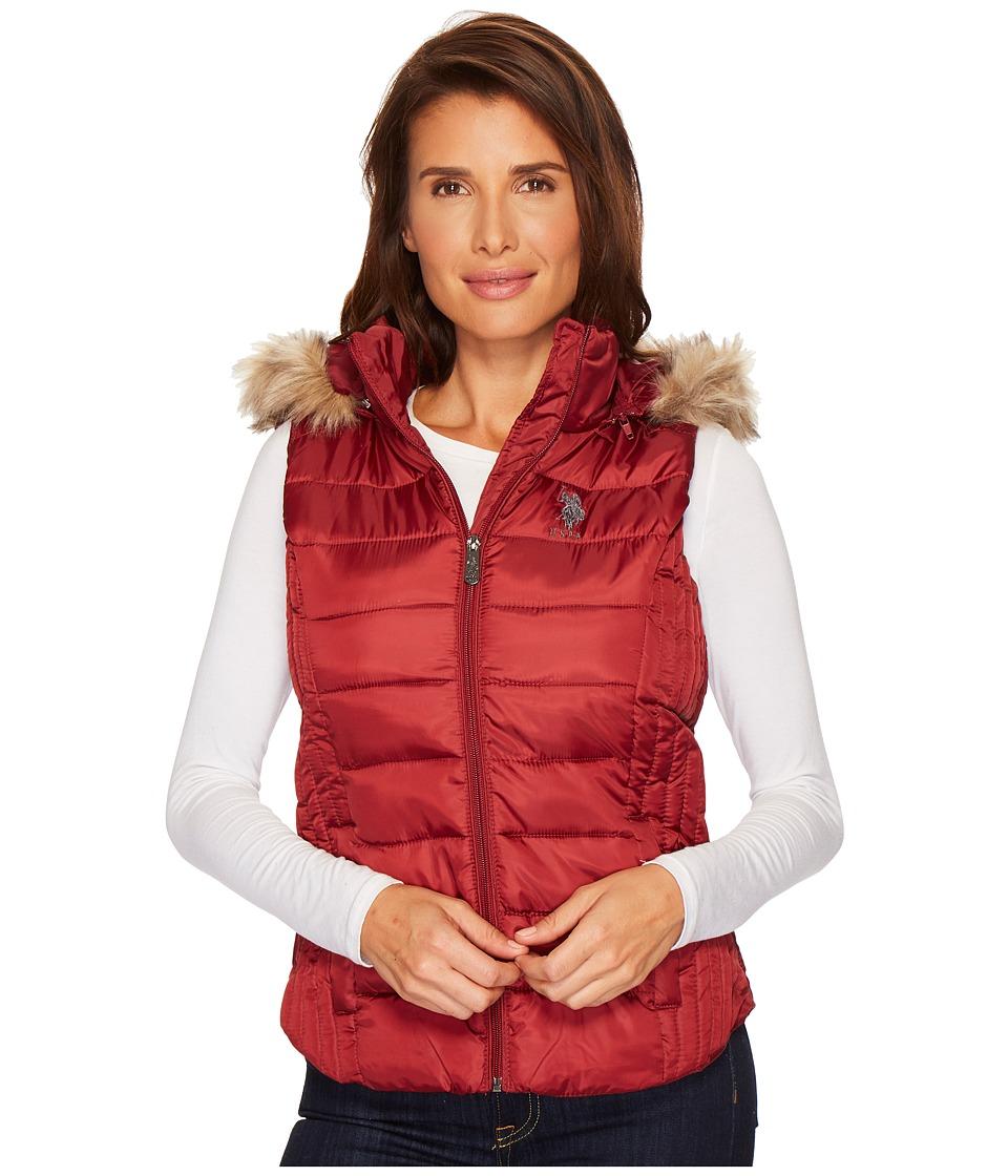 U.S. POLO ASSN. - Hooded Vest (Rumba Red) Women's Vest