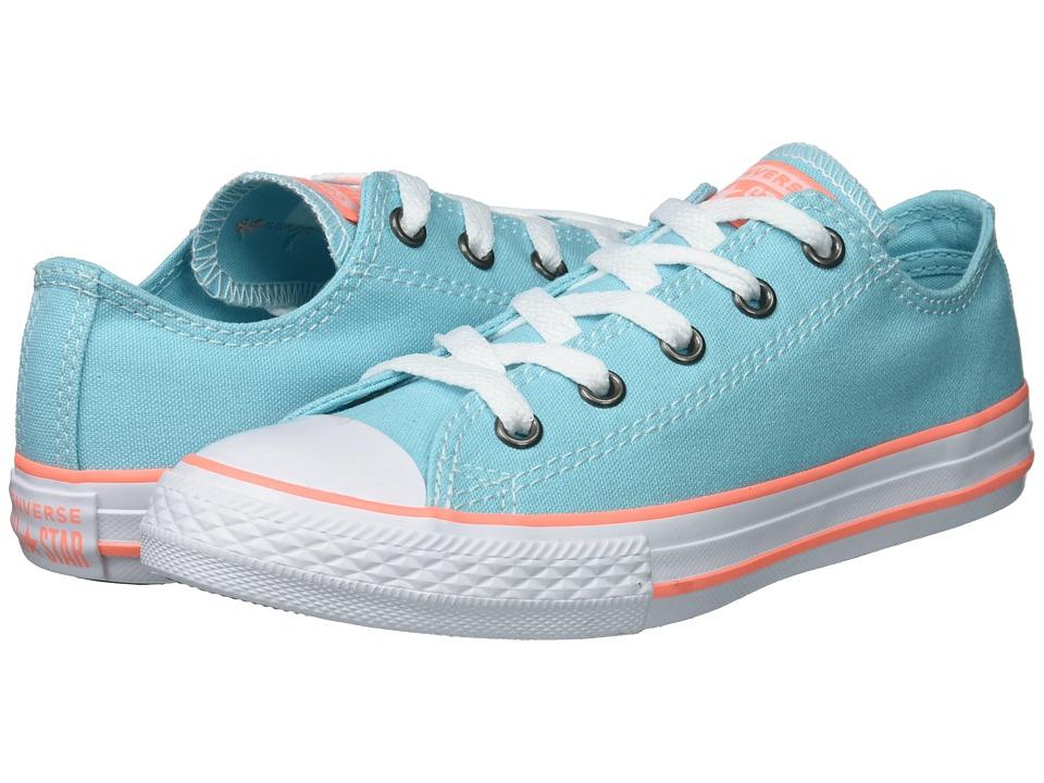 Converse Kids Chuck Taylor(r) All Star(r) Seasonal Ox (Little Kid/Big Kid) (Bleached Aqua/Crimson Pulse/White) Girls Shoes