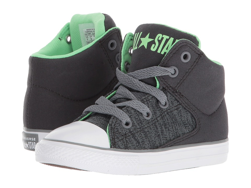 Converse Kids Chuck Taylor(r) All Star(r) High Street Heather Textile Fundamentals Hi (Infant/Toddler) (Almost Black/Cool Grey/White) Boys Shoes