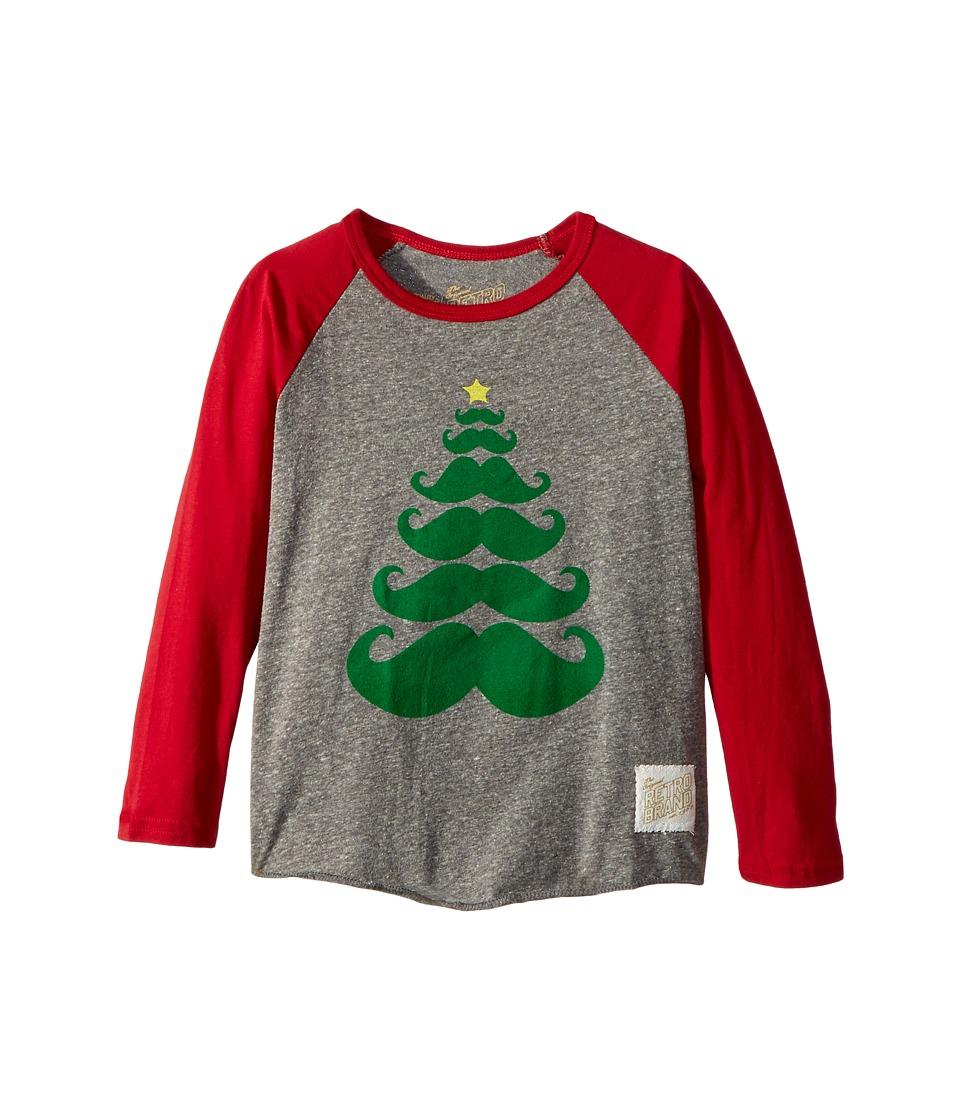The Original Retro Brand Kids - Baseball Raglan Holiday Mustache Long Sleeve (Toddler) (Streaky Grey/Dark Red) Boy's T Shirt