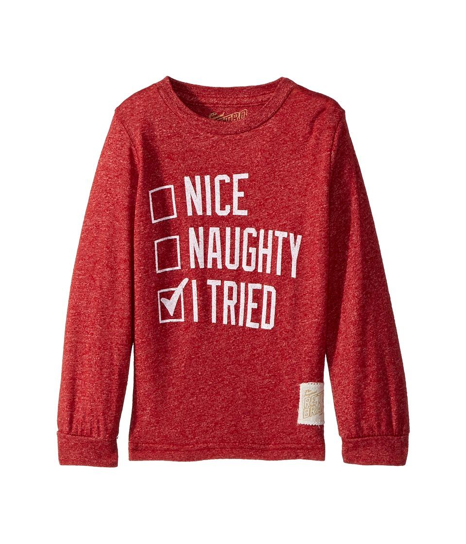 The Original Retro Brand Kids - Nice Naughty I Tried Mocktwist Long Sleeve (Toddler) (Mocktwist Deep Red) Boy's T Shirt