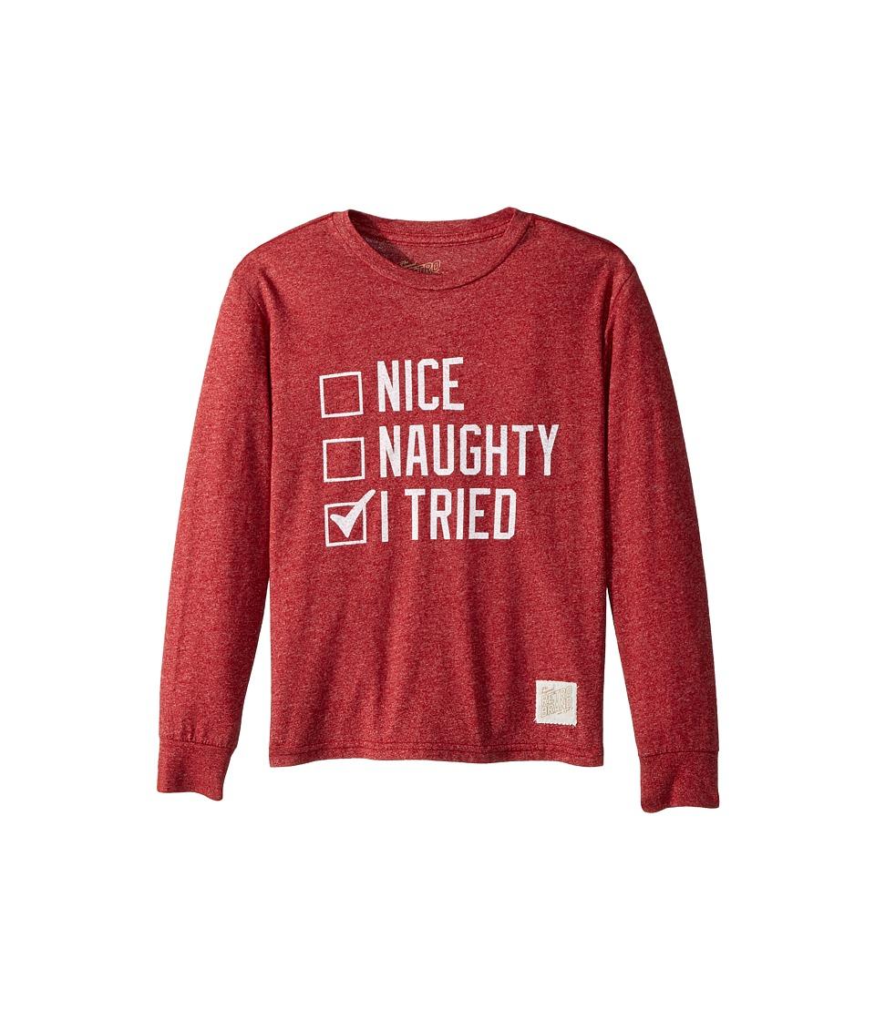 The Original Retro Brand Kids - Nice Naughty I Tried Mocktwist Long Sleeve (Big Kids) (Mocktwist Deep Red) Boy's T Shirt