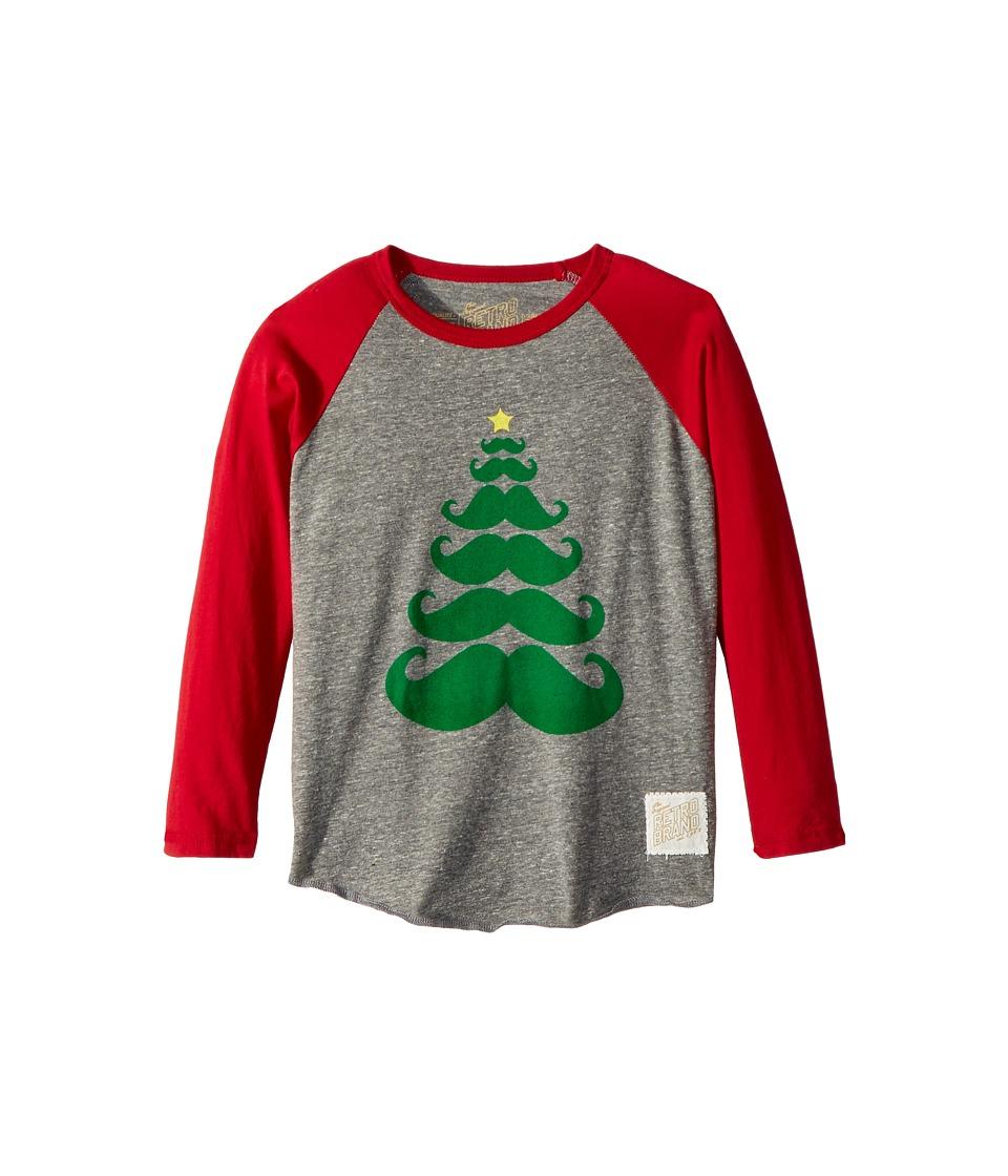 The Original Retro Brand Kids - Baseball Raglan Holiday Mustache Long Sleeve (Little Kids/Big Kids) (Streaky Grey/Dark Red) Boy's T Shirt