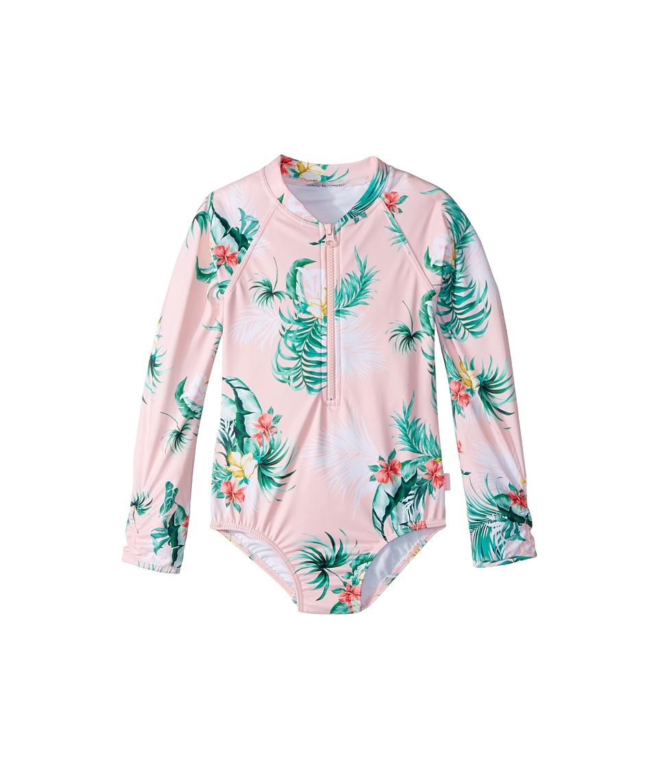 Seafolly Kids Hawaiian Rose Long Sleeve Ruffle Surf Tank One-Piece (Infant/Toddler/Little Kids) (Hawaii Pink) Girl