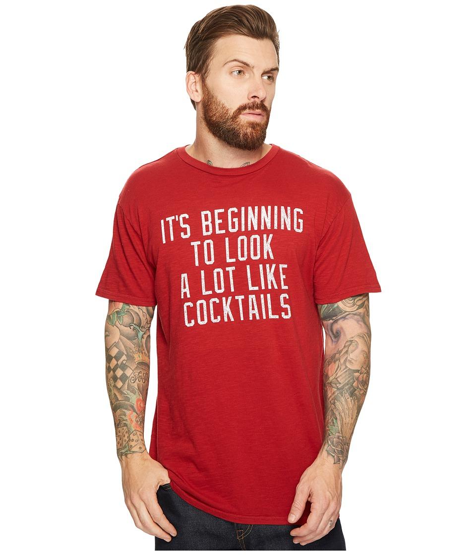 The Original Retro Brand - It's Beginning To Look A Lot Like Cocktails Slub Short Sleeve T-Shirt (Dark Red) Men's T Shirt