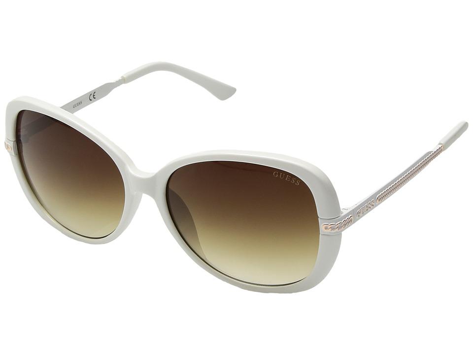 GUESS - GU0253F (White/Blue Mirror) Fashion Sunglasses