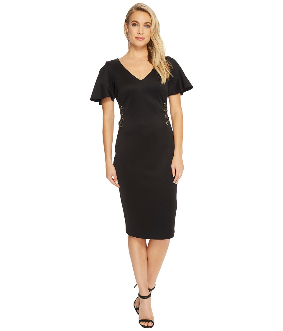 Sangria Short Sleeve Dress w/ Tie Up Detail (Black) Women