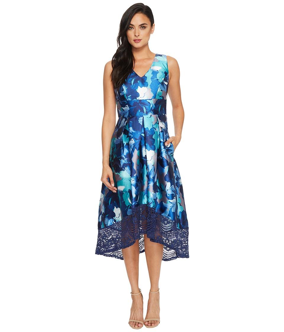Sangria V-Neck High-Low Gown w/ Lace Detail (Blue/Multi) Women