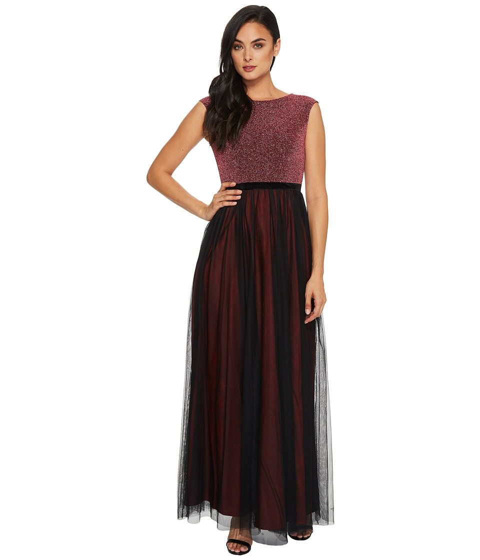 Sangria - Glitter Top Tule Gown (Black/Berry) Women's Dress