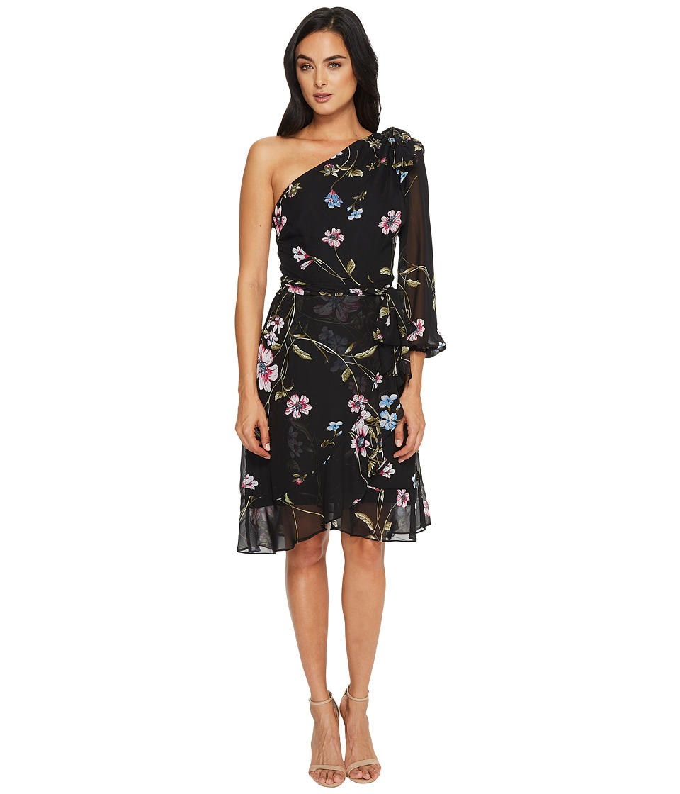 Sangria - One Shoulder Chiffon Dress (Black/Multi) Women's Dress