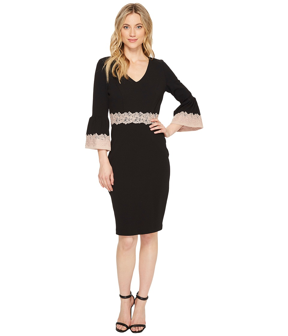 Sangria - 3/4 Bell Sleeve Dress w/ Lace Detail (Black/Blush) Women's Dress