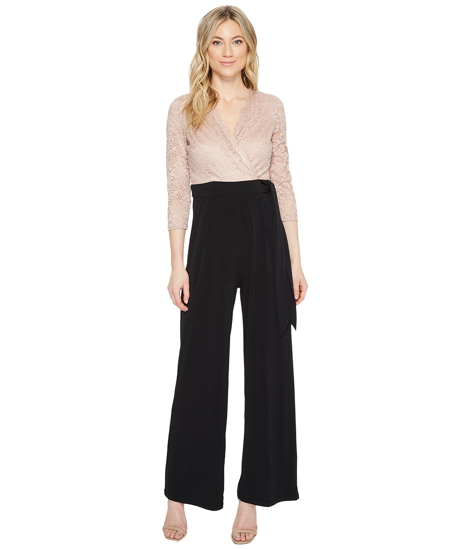 Sangria - Lace Surplus Top Jumpsuit (Black/Blush) Women's Jumpsuit & Rompers One Piece