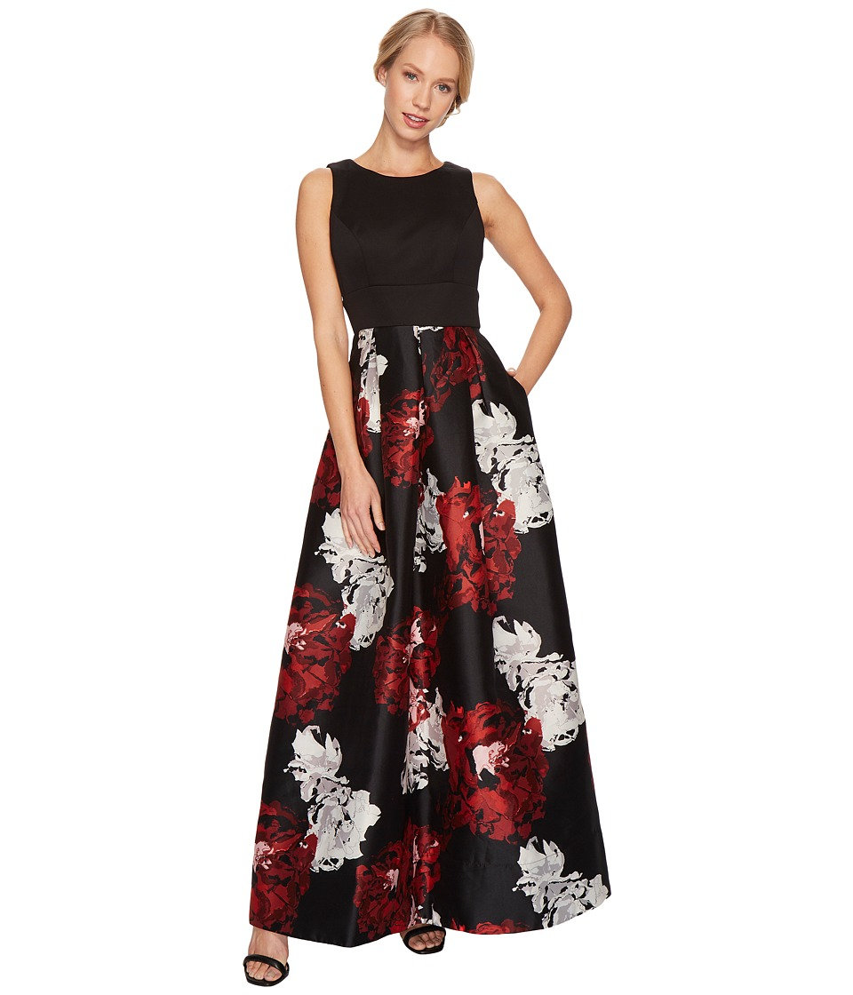 Sangria Solid Bodice Gown w/ Printed Bottom (Black/Red) Women