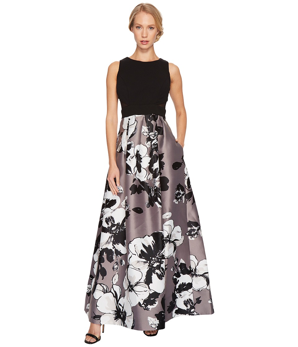 Sangria - Solid Bodice Gown w/ Printed Bottom and Mesh Insert (Black/Grey) Women's Dress