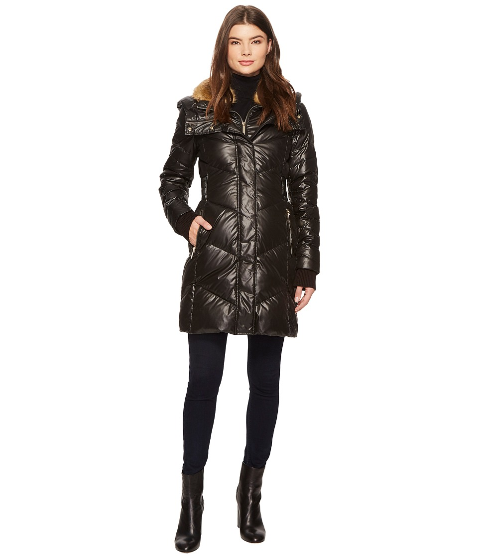 French Connection - 3/4 Bibby Faux Fur Rib Knit Waist (Black) Women's Coat