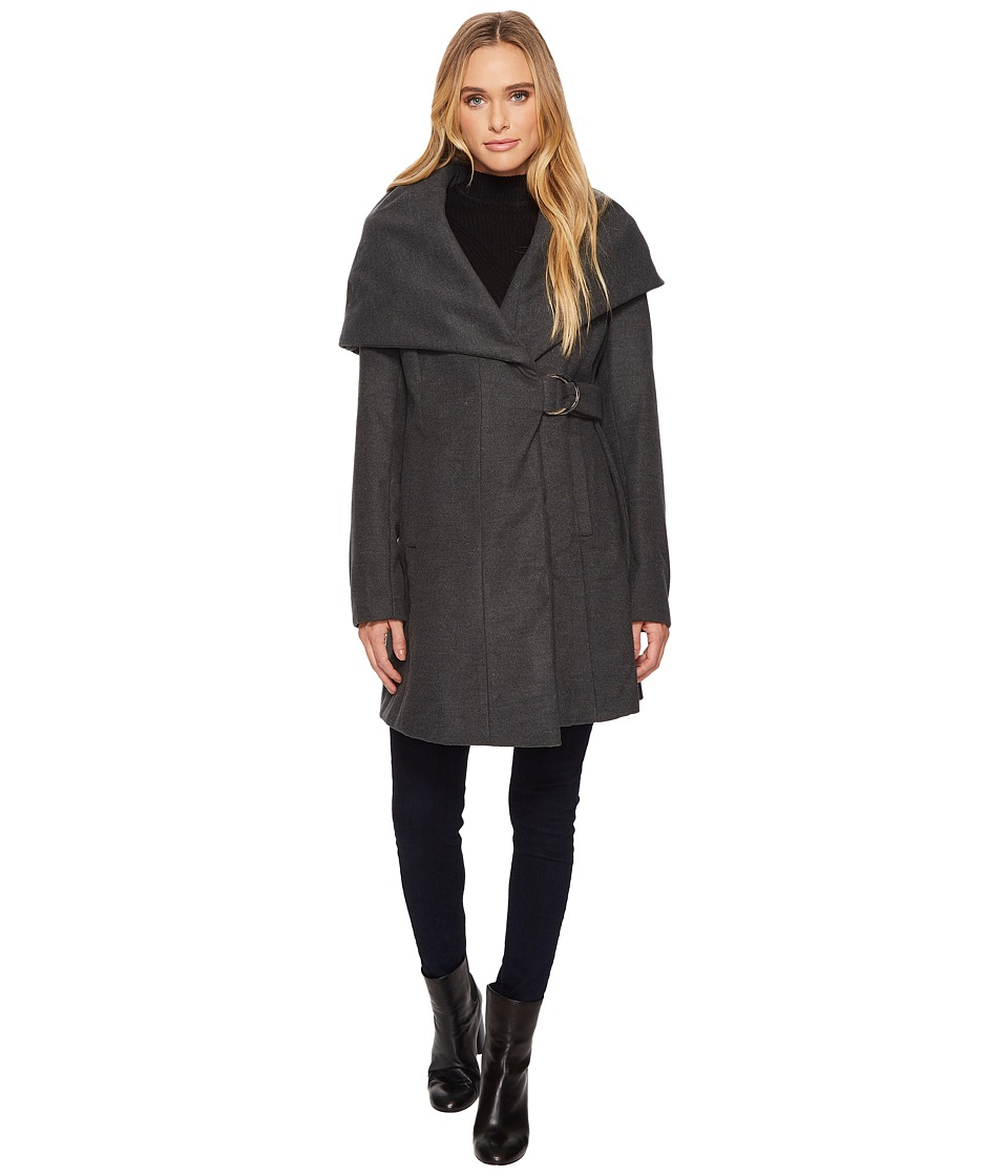French Connection - Marla Coat w/ D-Ring Belt (Charcoal) Women's Coat