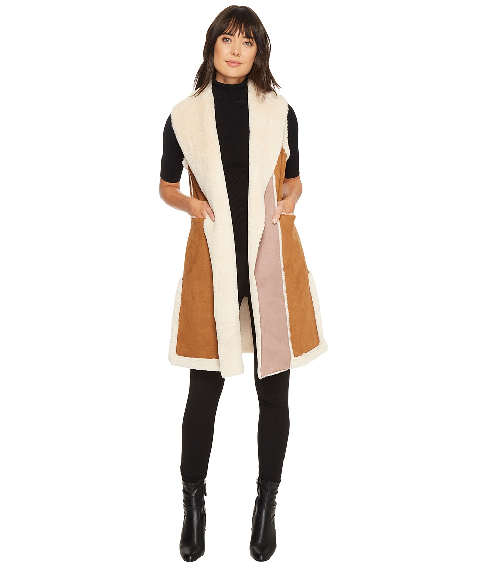 French Connection - Faux Lamb Suede Gilet (Cognac/Cream) Women's Coat