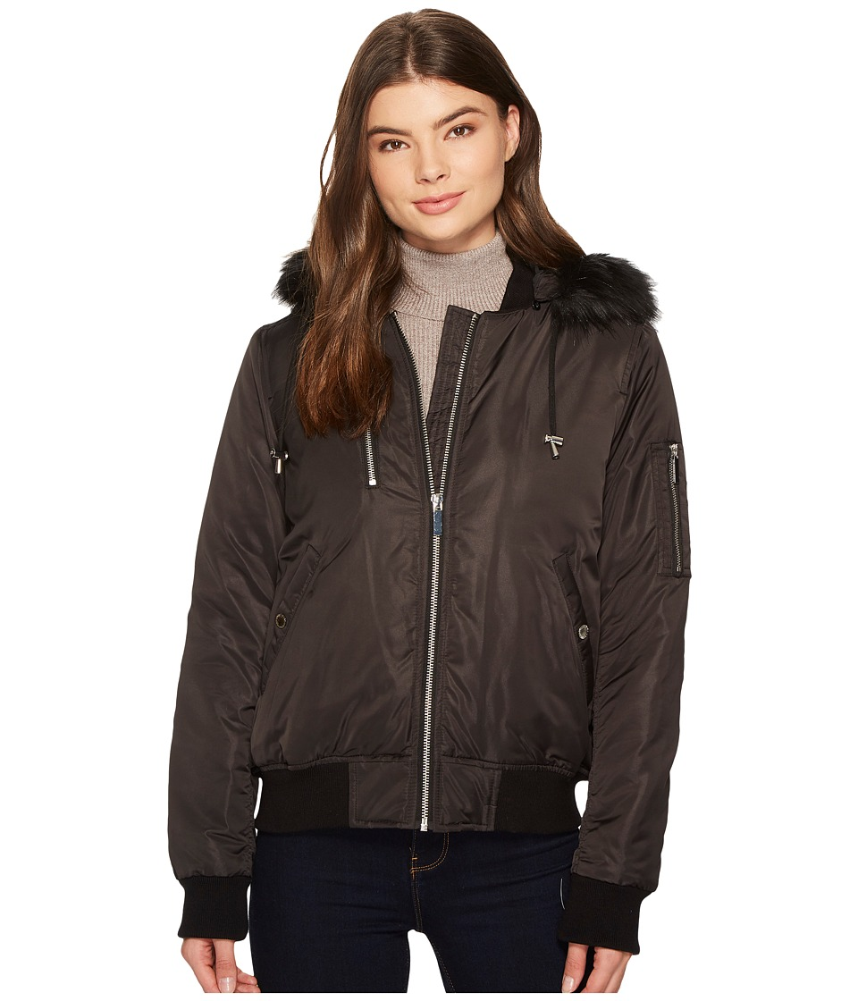 French Connection - Varsity Bomber w/ Faux Fur Hood (Black) Women's Coat