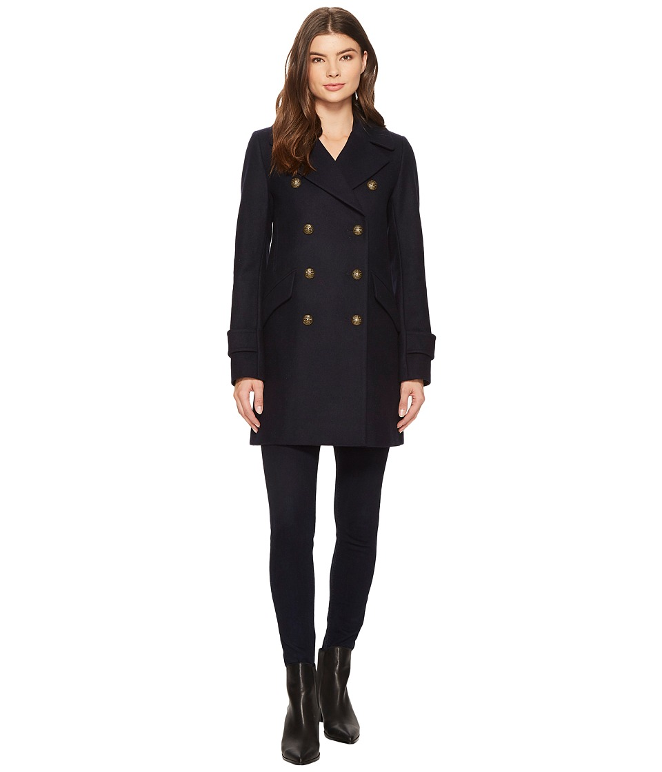 French Connection - A-Line Double Breasted Peacoat (Utility Blue) Women's Coat