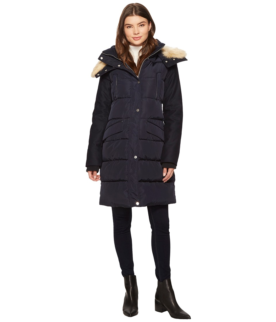 French Connection - Faux Fur Wool Four-Pocket w/ Hood (Utility Blue) Women's Coat