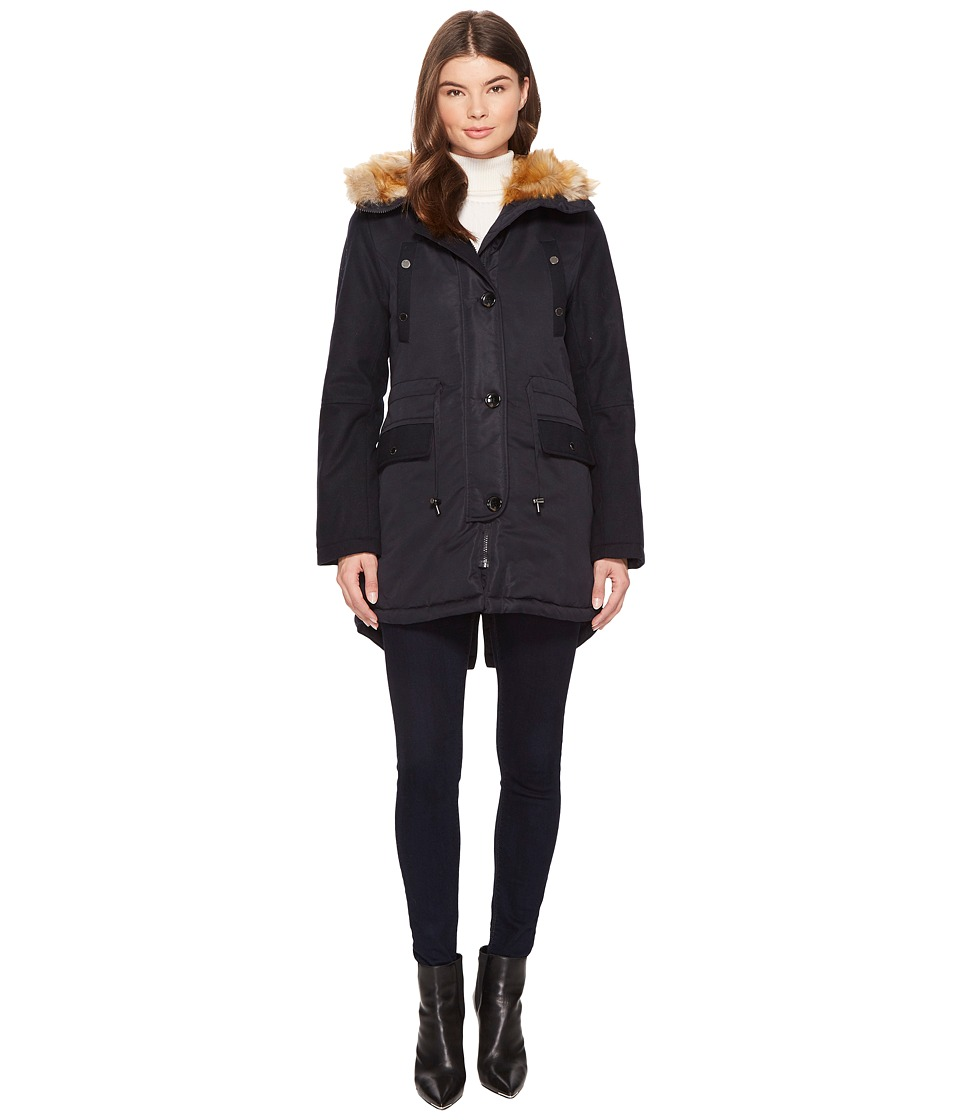 French Connection - Faux Fur Wool Combo Fur Lined (Utility Blue) Women's Coat