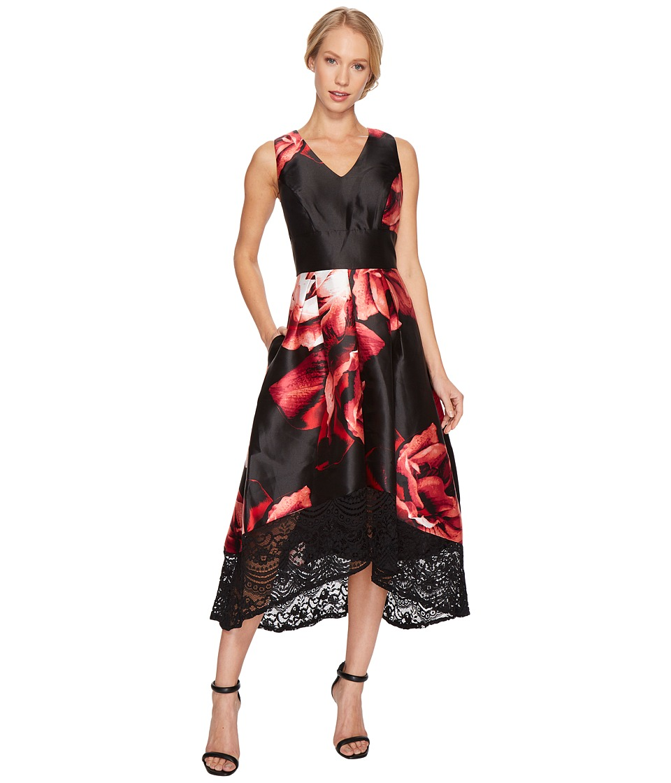 Sangria High-Low V-Neck Gown w/ Lace Detail (Multi) Women