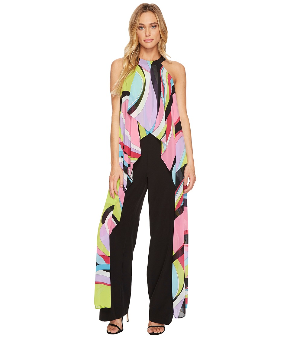 Tahari by ASL - Jumpsuit with Chiffon Printed Detail (Black/Peony/Sky) Women's Jumpsuit & Rompers One Piece