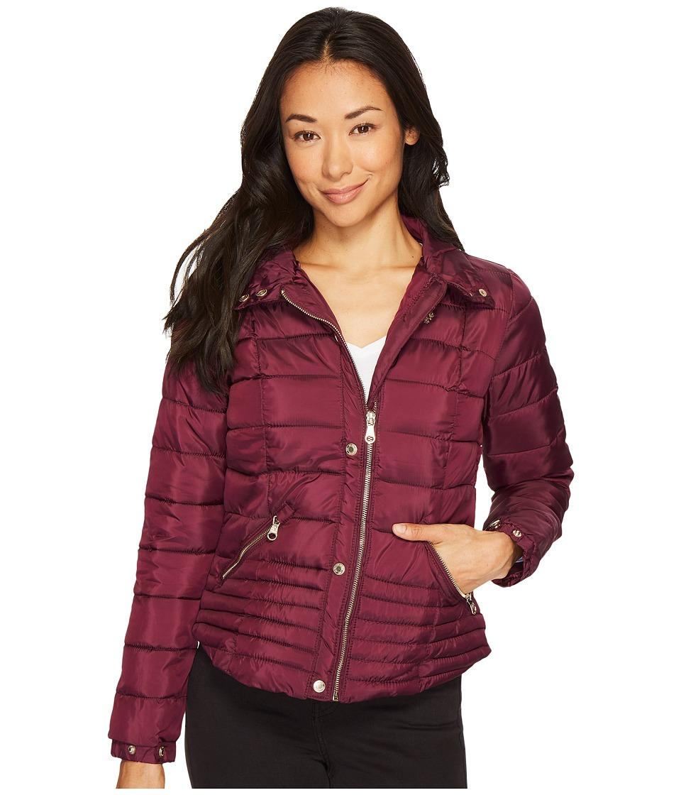 U.S. POLO ASSN. - Quilted Moto Puffer Jacket (Berry Park) Women's Coat