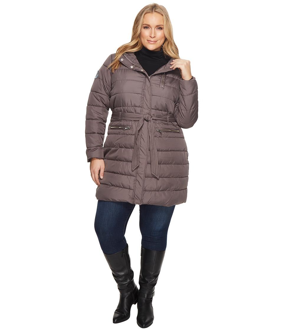U.S. POLO ASSN. Plus Size Long Self Belt Puffer Coat (New Grey) Women