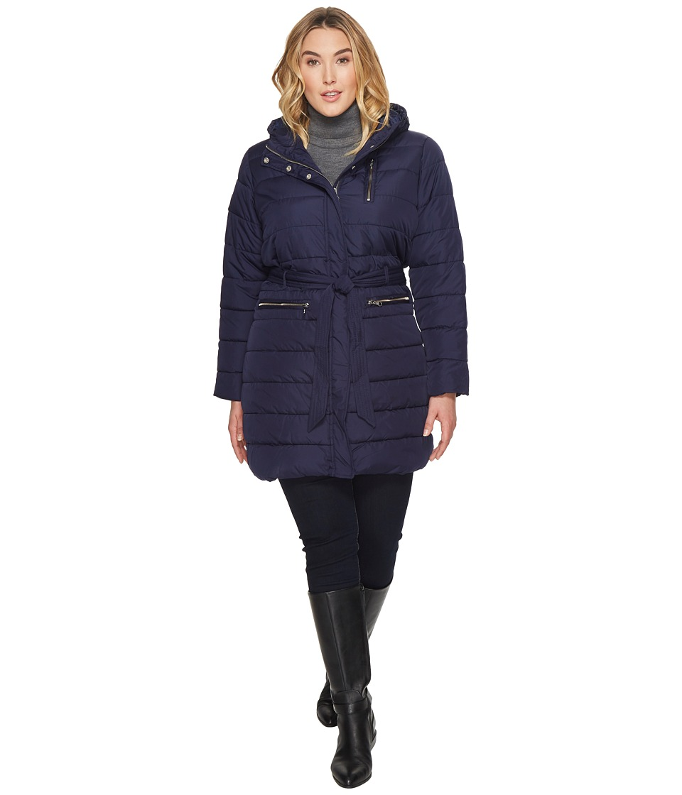 U.S. POLO ASSN. - Plus Size Long Self Belt Puffer Coat (Evening Blue) Women's Coat