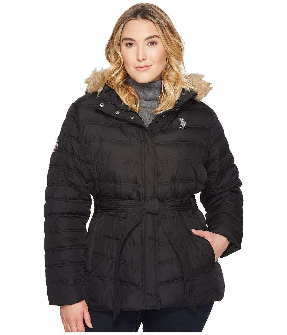 U.S. POLO ASSN. - Plus Size Long Puffer Jacket with Belt (Black) Women's Coat