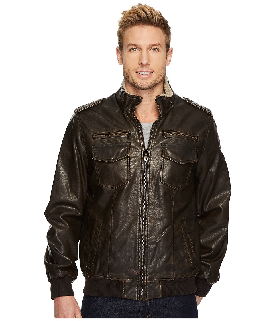 Tommy Hilfiger - Faux Leather Sherpa Lined Bomber Jacket (Dark Brown) Men's Coat