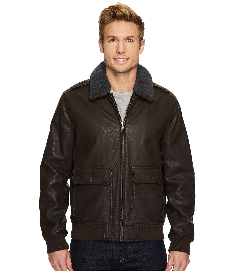 Tommy Hilfiger - Faux-Leather Bomber Jacket (Dark Brown) Men's Coat