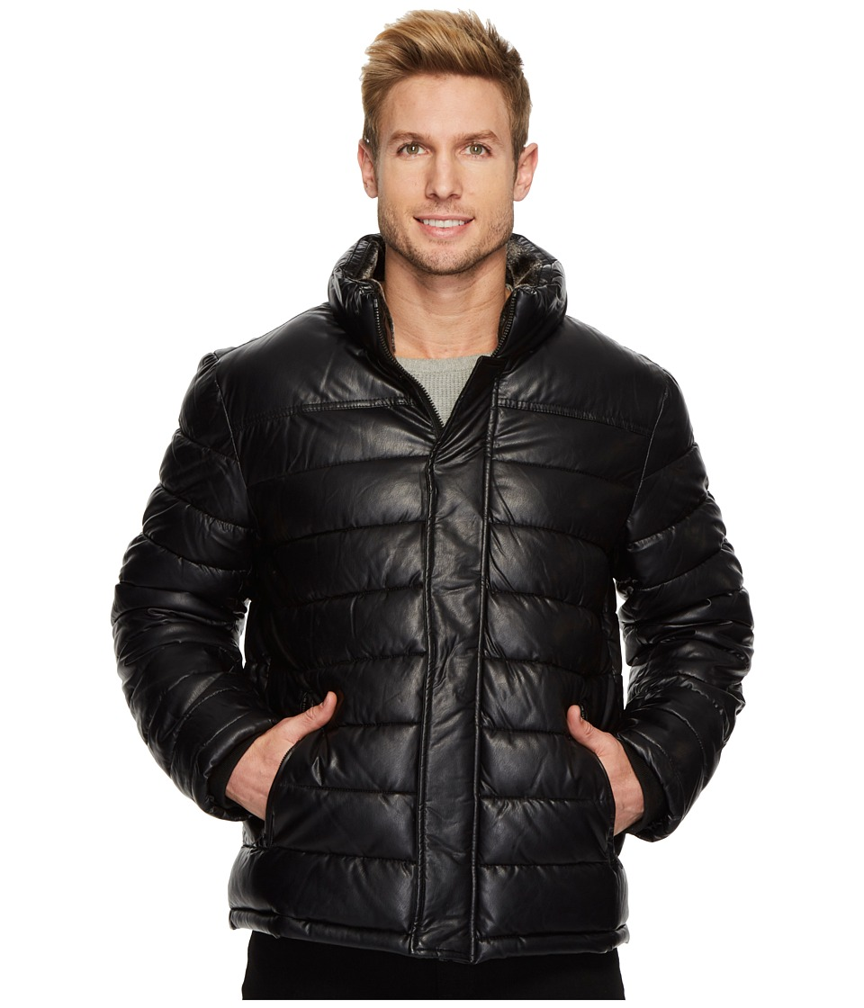 Tommy Hilfiger - Faux Quilted Puffer Jacket (Black) Men's Coat