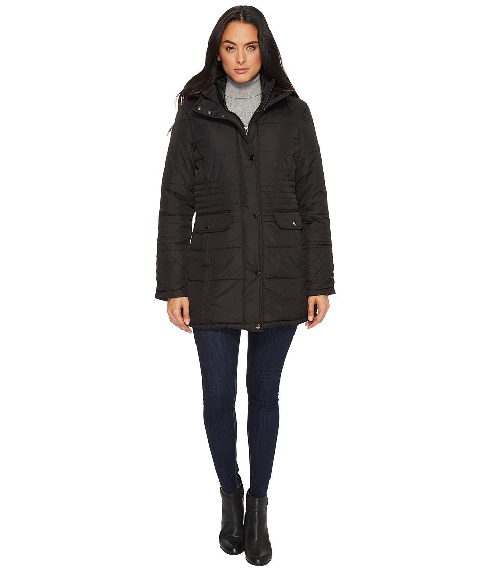 KC Collections - Zip Front Double Snap Pocket w/ Hood (Black) Women's Coat