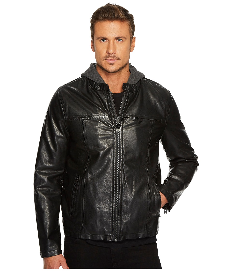 Levi's(r) - Hooded Faux Leather Racer Jacket with Fleece Lining (Black) Men's Coat